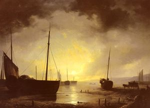 Adrianus van Beached fishing Boats by Moonilight