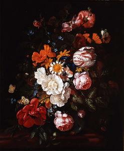 鲜花在玻璃花瓶花束(私人收藏)