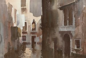 The shadowed canal, venice