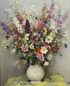 Summer Flowers in a Translucent Vase