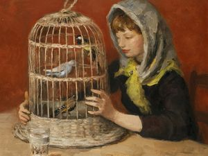 Young Woman and the Cage with Birds