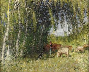 The Herd in Birch Grove near the Creuse