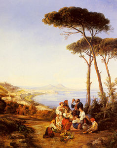 A group of peasants with the bay of naples beyond