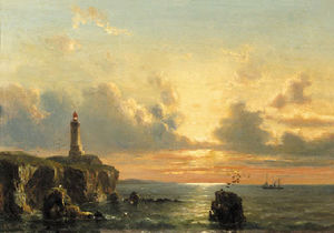 A coastal landscape with a lighthouse at sunset