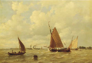 Sailing vessels and a steamship by a coast
