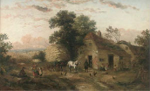 A hay cart and figures outside a farm; and at the village pump