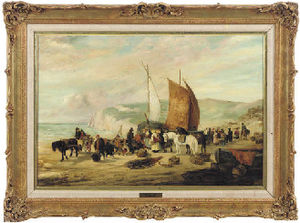 Villagers gathered on the beach, bringing in the catch at low tide