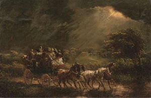 A stage coach and four on a stormy night, a country house beyond