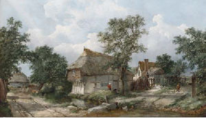 Figures before a cottage,