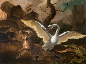 A Swan Enraged by Dogs