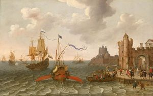 A French galley and Dutch men-of-war off a port