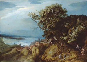 A rocky river landscape with travellers on a path by a town