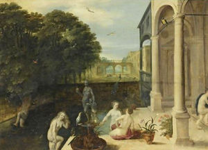 Nymphs bathing in a classical garden setting