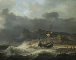 A mountainous coastal landscape with a ship beached in a storm, figures gathering cargo to the right