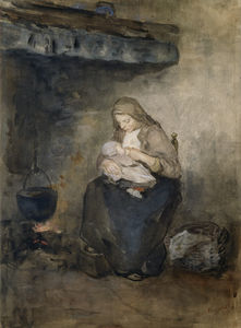 Mother Nursing her Child by the Fireplace