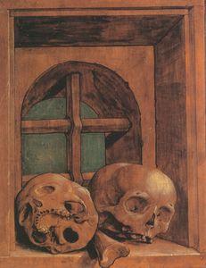 Two Skulls in a Window Niche