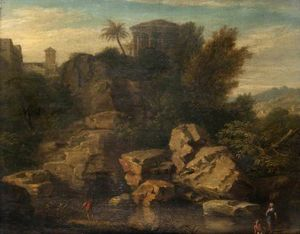 Landscape with a Caprice View of the Temple of Vesta at Tivoli