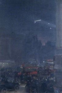 The First Zeppelin Seen from Piccadilly Circus, 8 September (1915)