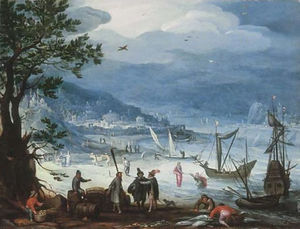 A coastal landscape with fishing boats and peasants disembarking, the Calling of Saint Peter beyond