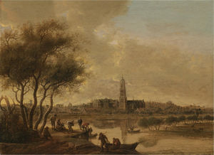 A panoramic view of rhenen seen from the south bank of the nederijn, with the church of st cunera