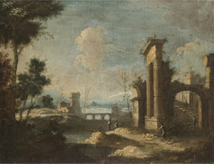 An italianate river landscape with pastoral figures amongst classical ruins