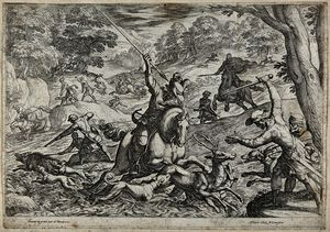 A tumultous hunting scene in which a stag is hunted into the