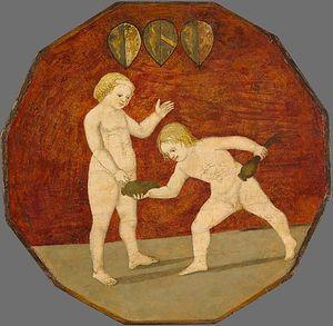Naked boys with poppy pods