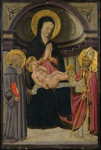 Virgin and Child Enthroned with St. Benedict and Bishop Saint
