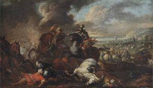Una battaglia tra cavalieri e ottomani