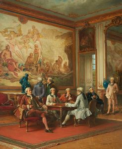 Rococo interior with chess-playing men