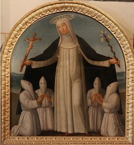 St Catherine of Siena protects some of the Confraternity of the Night Oratory