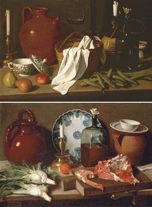A glass bottle, a blue and white porcelain platter, an earthenware jug, a candle, an orange and fennel on a wooden ledge with meat on a chopping board