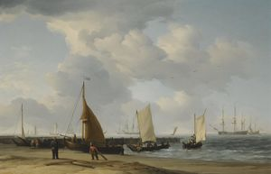 A Dutch Beach Scene with a Man-of-War in the Distance