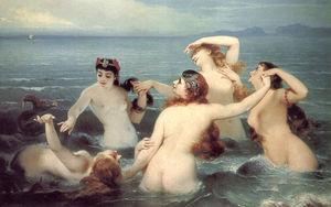 Mermaids Frolicking in the Sea