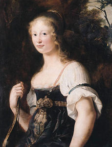 A portrait of a young woman as Diana, standing half length in a landscape, wearing a green dress and chemise, a wrap around her waist - a fragment