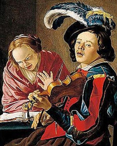 An allegory of the sense of hearing an interior with a boy playing the violin and a lady singing