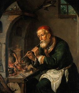 An Alchemist Blowing on a Fire to Heat a Still