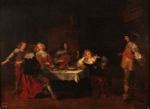 Banquet courtesans and soldiers