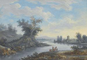 Скалистый пейзаж с рекой путешественников на пути страны и деятелей отдыха рядом с водопадом