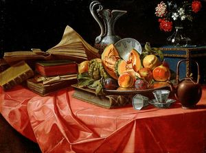 Books, Chinese porcelain, fruit tray, trunk, flower pot and teapot on table covered with red cloth