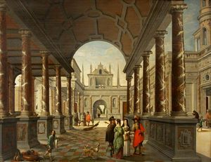 Perspective Fantasy of a Palace, with Elegant Figures