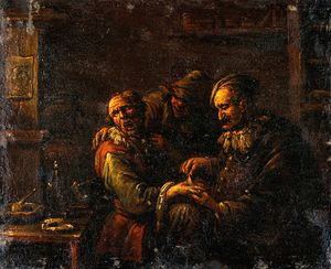 A man removing a plaster from the back of a man's hand.