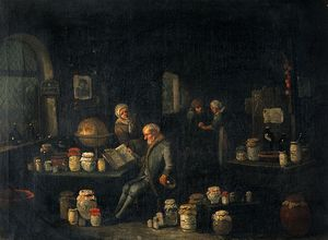 An old man consulting a book and holding a flask in a room with many pharmacy jars.