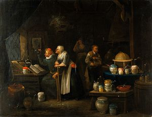 Interior with doctor, assistant, old woman and girl.