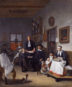 Jacob Franszn and family in his barber-surgeon shop