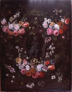 Garland of flowers surrounding cherub in grisaille.