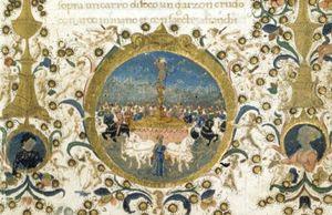 Miniature of Petrarch's Triumph of Love.