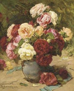 Summer roses in a vase