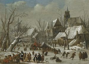 A winter landscape with figures on a frozen canal