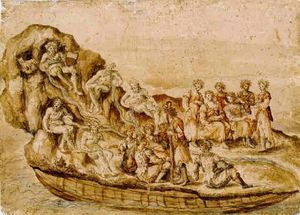 Design for a festivity A fantastic barge with an allegorical figure holding the shield of the city of Siena